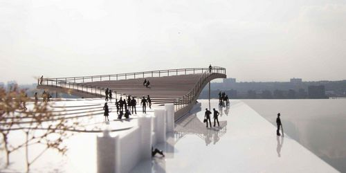纽约布鲁克林的交叉层压木材三角观景平台