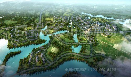 竹林景观鸟瞰手绘
